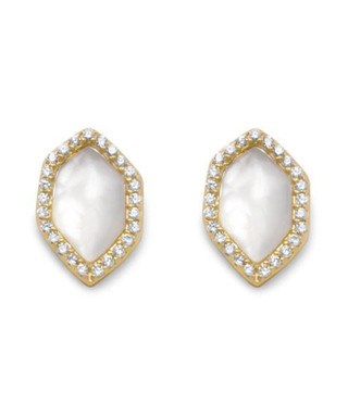 ca86796a3 18ct gold-plated & mother of pearl studs Sale - Black Label by Liv Oliver