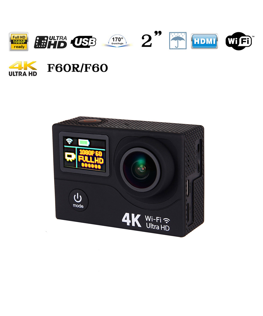 Black 4K Ultra HD sports action camera Sale - Inki