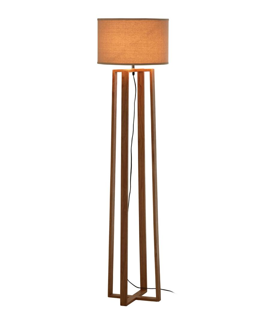 Lea brown rubberwood floor lamp Sale - Premier