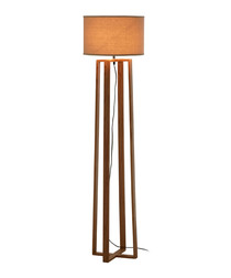 Lea brown rubberwood floor lamp