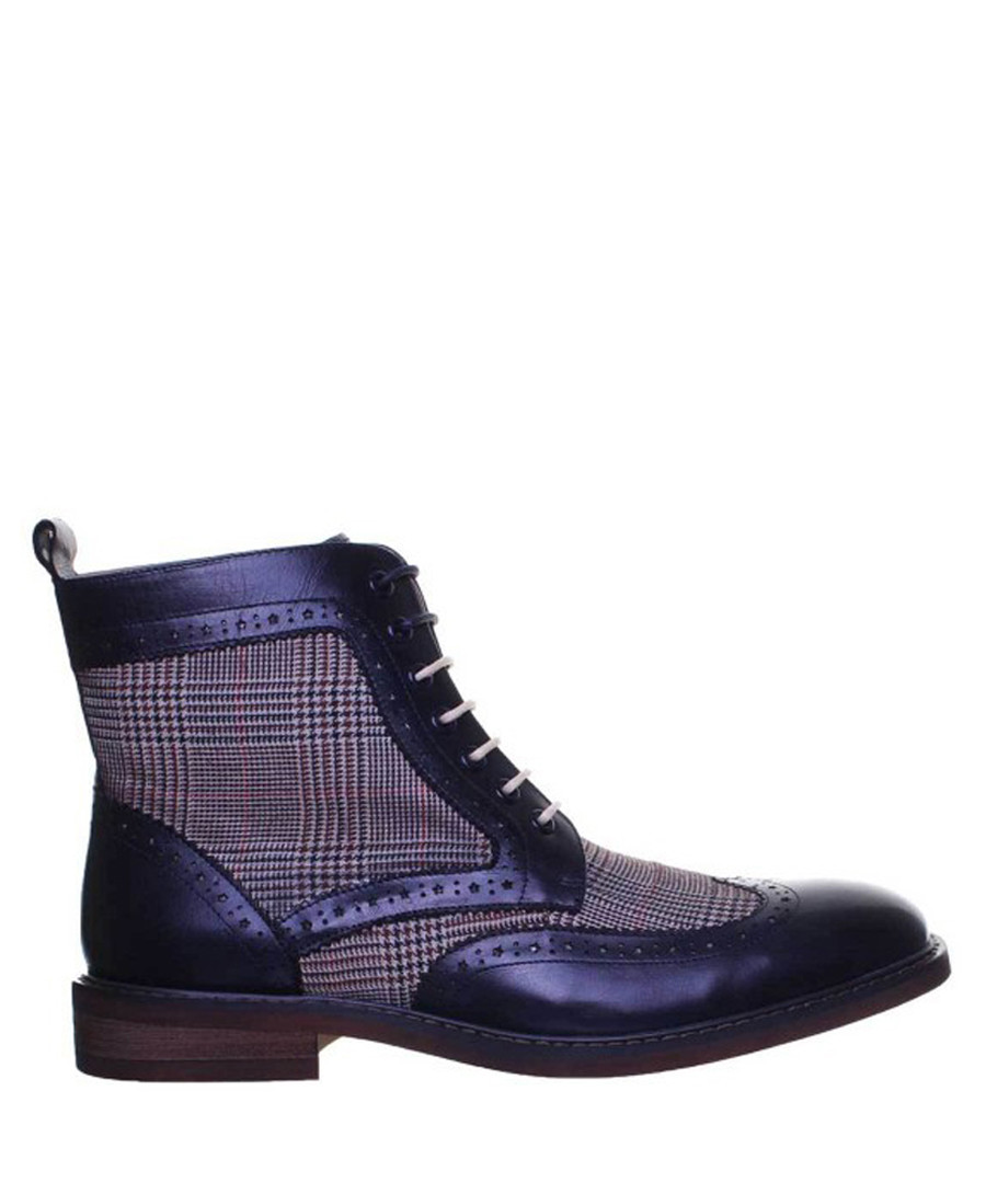 Jasper navy leather checked boots Sale - JUSTIN REECE