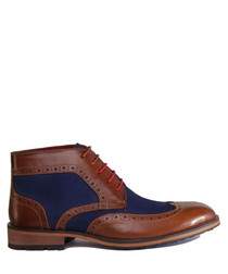 Lee brown & navy leather ankle boots