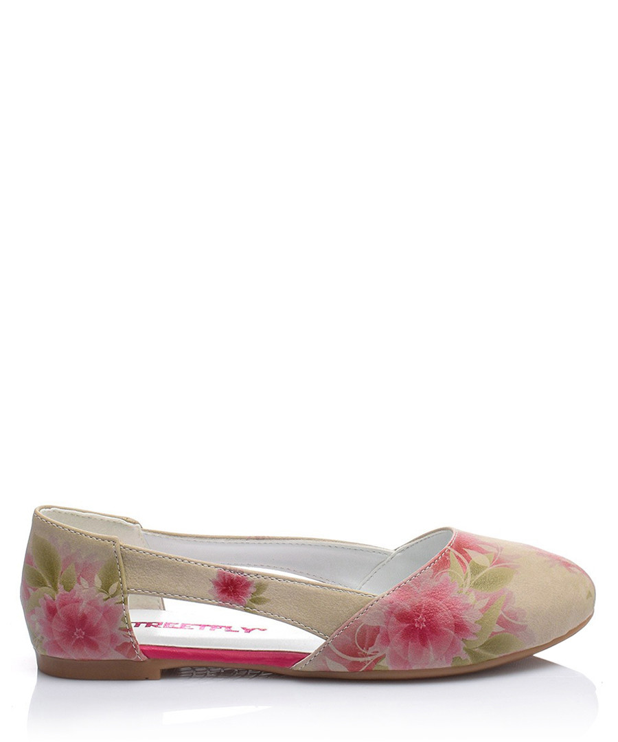 Pink floral print cut-out ballet flats Sale - Street Fly