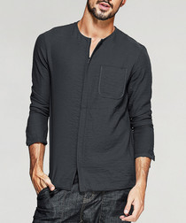 Charcoal collarless shirt