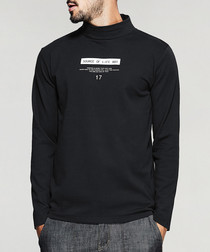 Black cotton blend stand collar jumper