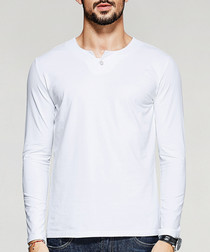 White cotton blend long sleeve T-shirt