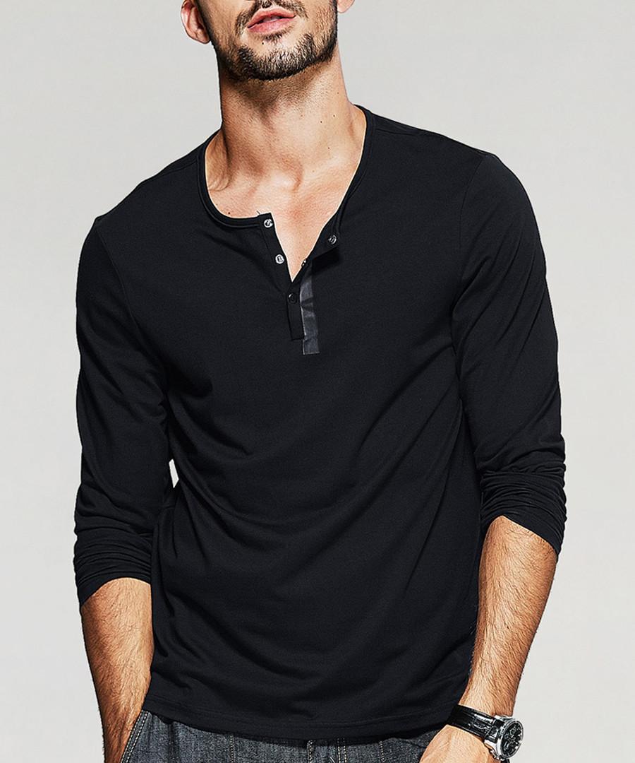 Grey cotton blend long sleeve T-shirt Sale - kuegou