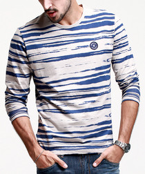Blue cotton blend striped T-shirt