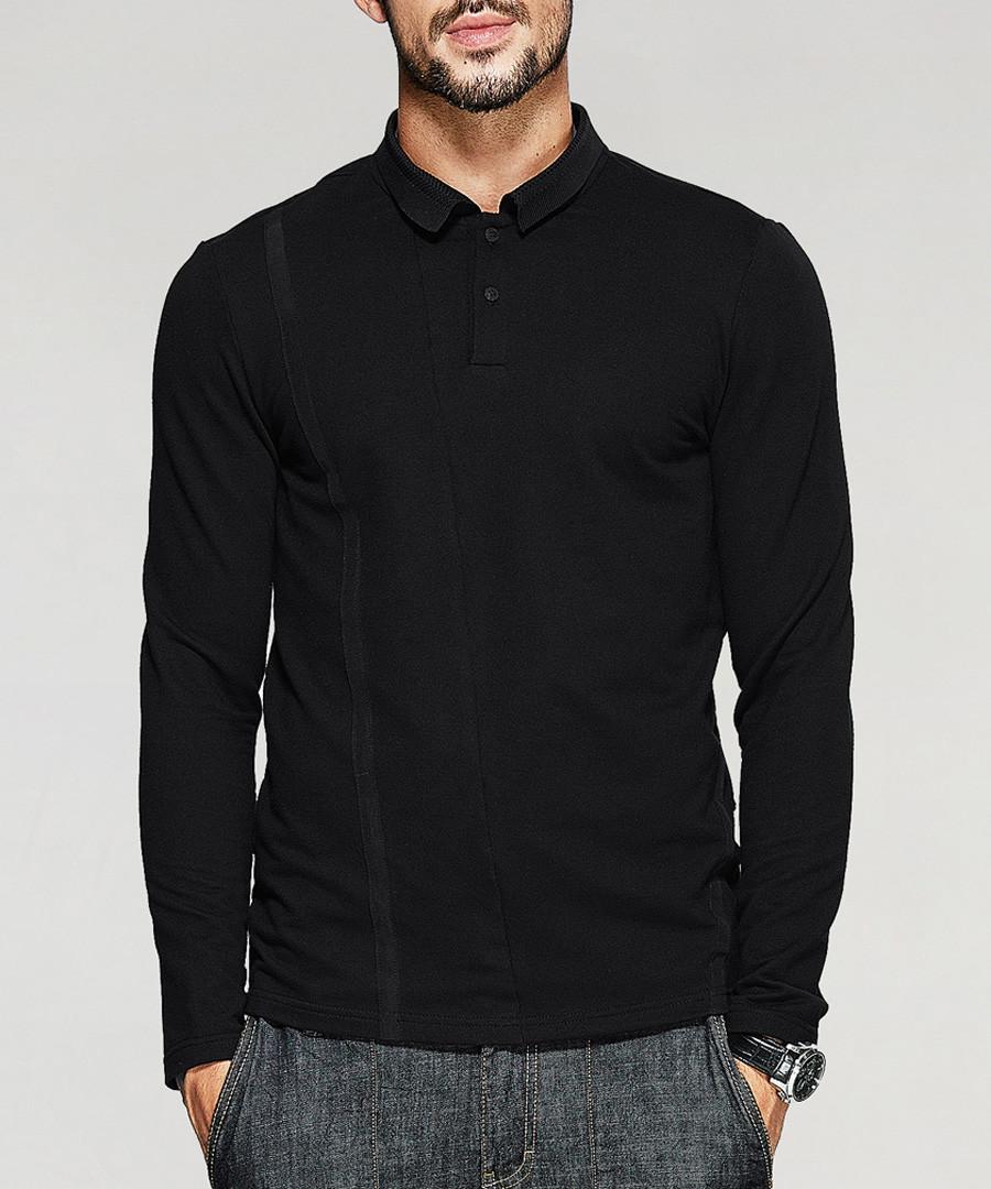 Black cotton blend polo T-shirt Sale - kuegou
