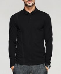 Black cotton blend polo T-shirt