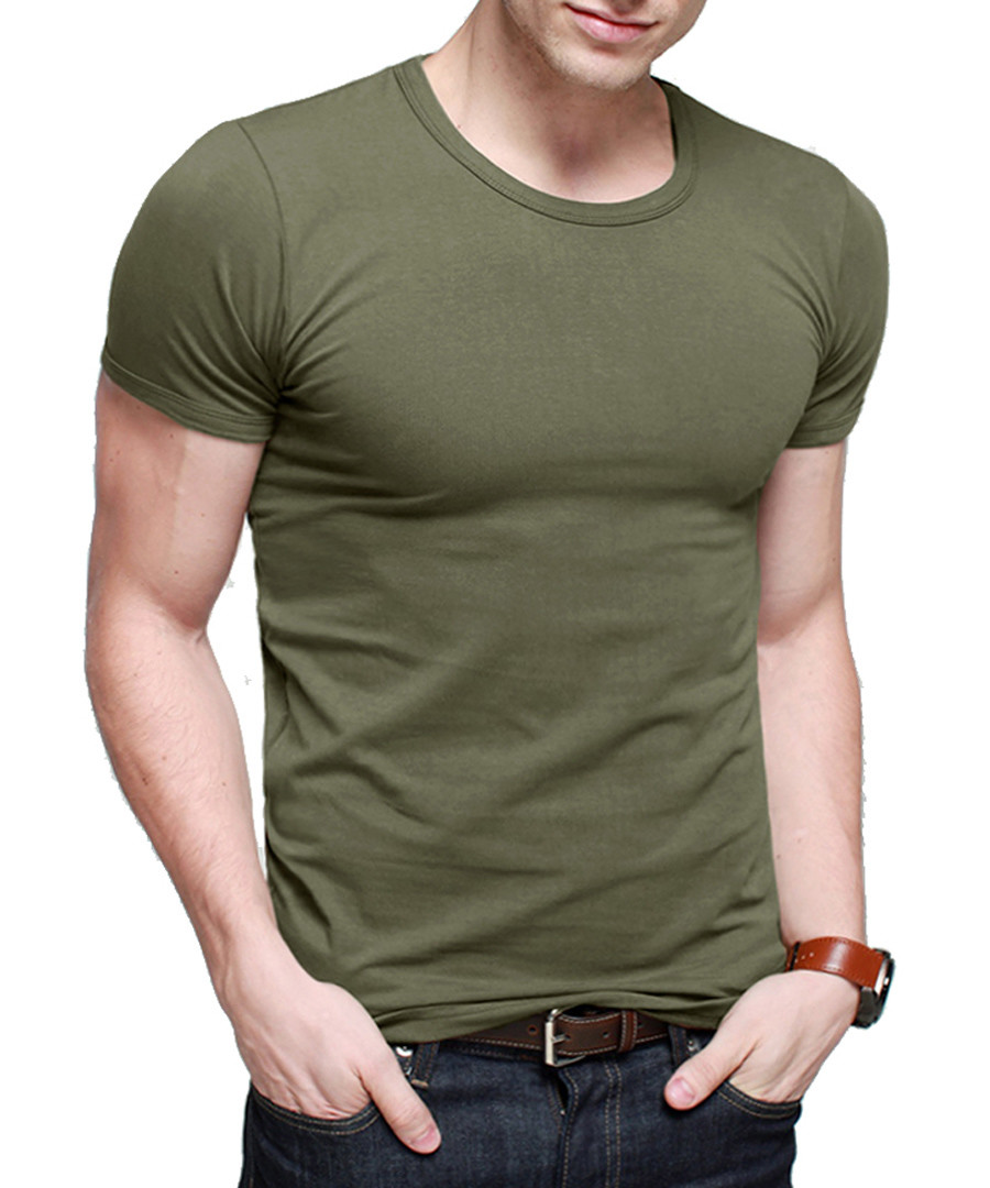 Green cotton blend short sleeve T-shirt Sale - kuegou