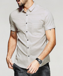 Apricot cotton blend short sleeve shirt