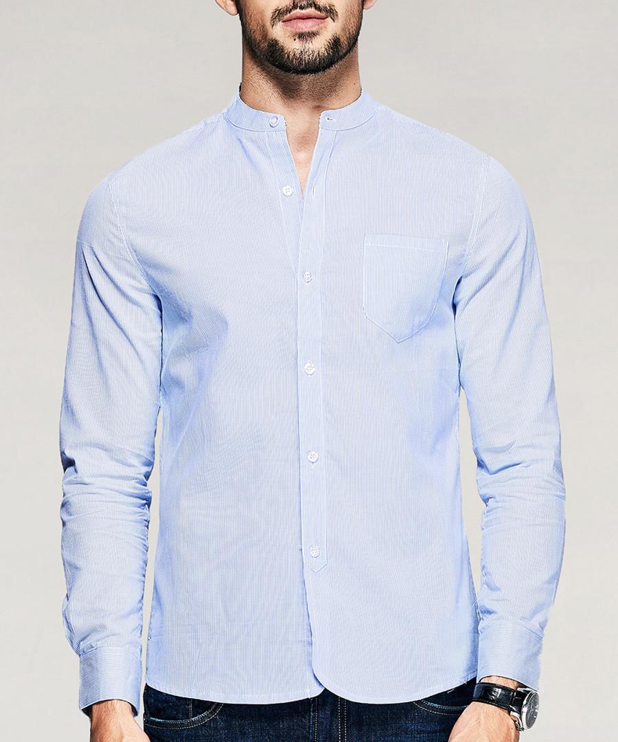 Blue pure cotton shirt Sale - kuegou