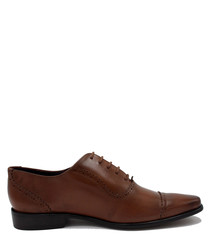 Byrne tan brown leather lace-up shoes