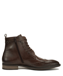 Harvey brown leather lace-up boots