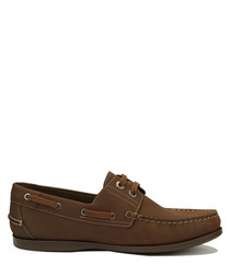 Romeo dark brown nubuck boat shoes