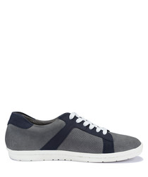 Tito light grey leather lace-up sneakers