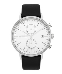 Bedfort black & white leather watch