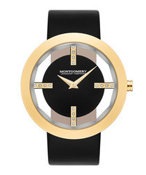 Bristol black & gold-tone leather watch