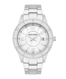 Bury silver-tone & white link watch