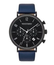 Hereford blue & black leather watch