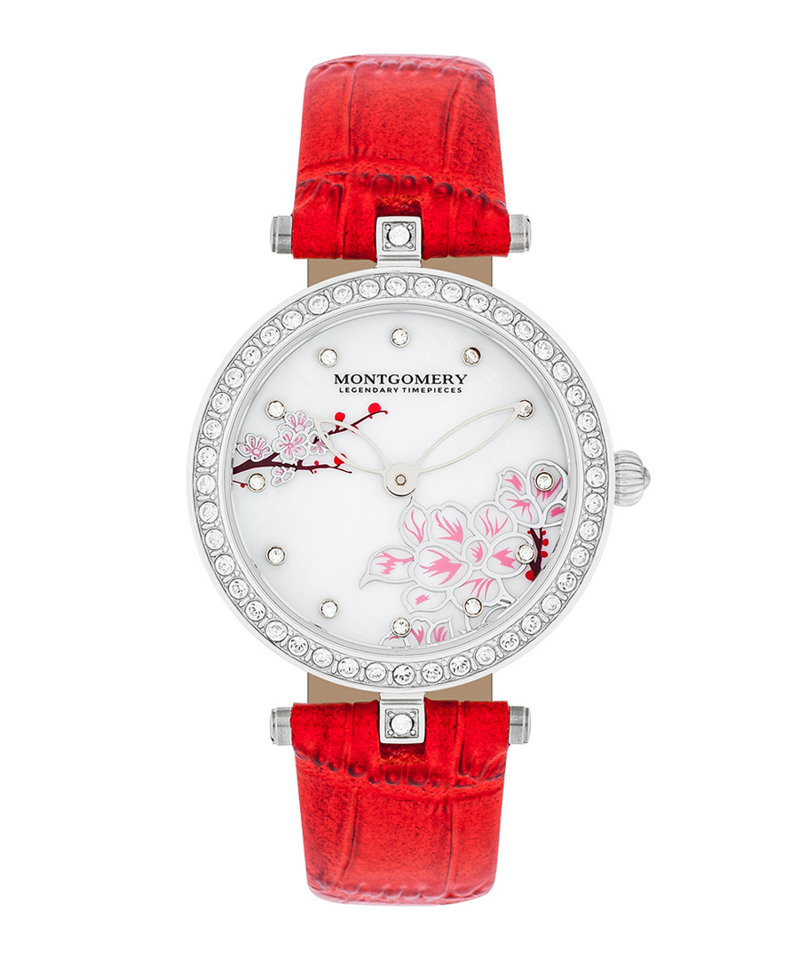Barry red & silver-tone leather watch Sale - montgomery