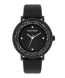 Withby black crystal & leather watch