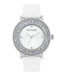 Withby white crystal & leather watch