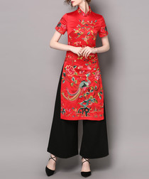 2pc red embroidered dress & trousers