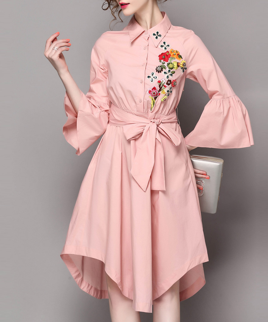 Pink embroidered tie waist dress Sale - Zeraco