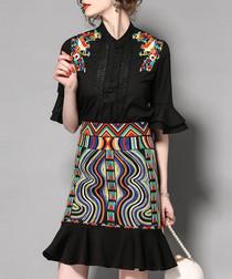 2pc black patterned frill blouse & skirt