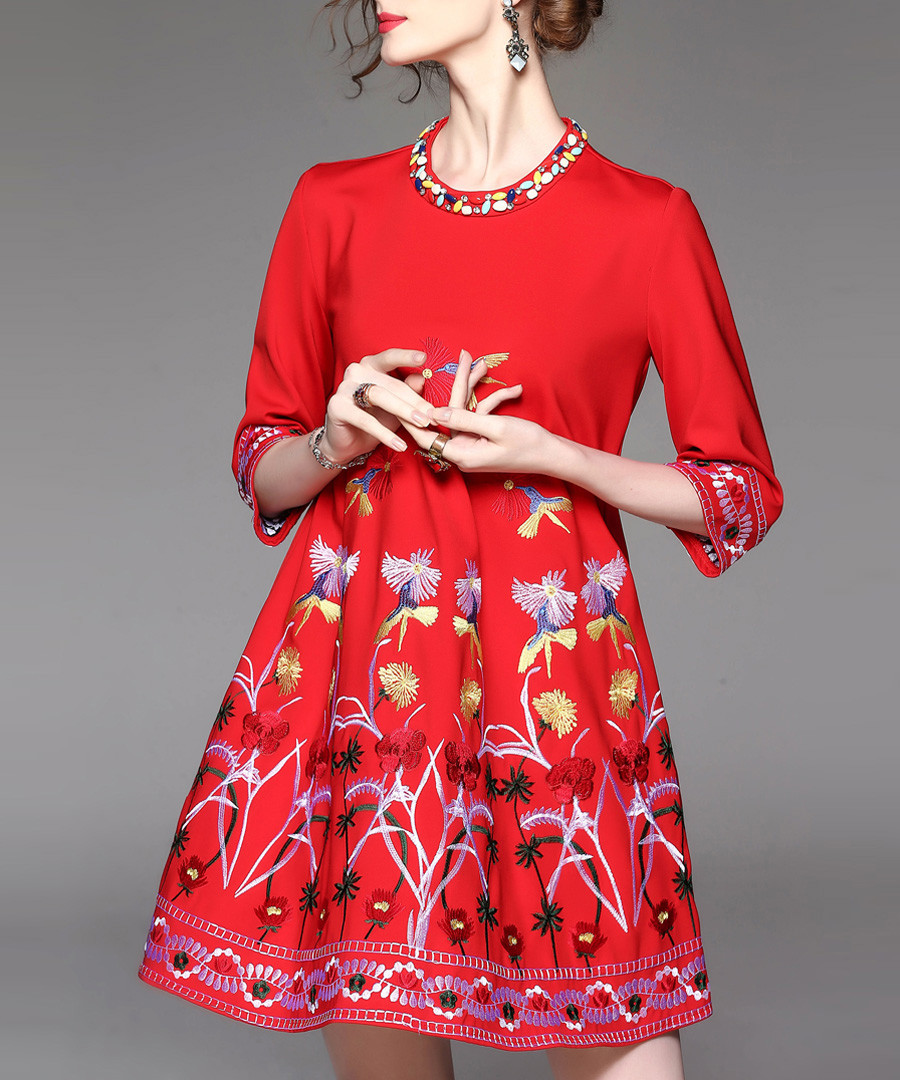 Red cotton blend embroidered dress Sale - Zeraco