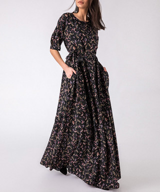 76665176ba839b Black print half sleeve maxi dress Sale - FX MISSONY Sale