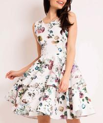 White & green botanical print dress