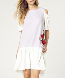 Violet pure cotton cold-shoulder dress