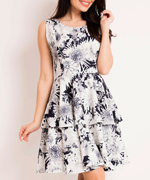 Navy blue & white floral A-line dress