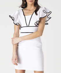 White & black detail ruffle mini dress