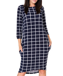 Navy blue & white checked dress