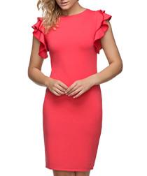 Coral cotton blend ruffle sleeve dress