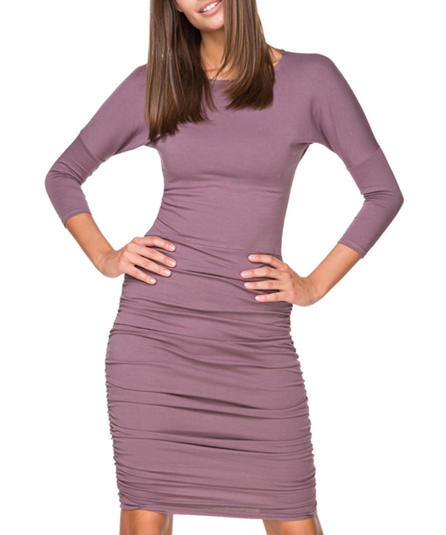Plum cotton blend bodycon dress  Sale - tessita