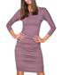 Plum cotton blend bodycon dress  Sale - tessita Sale