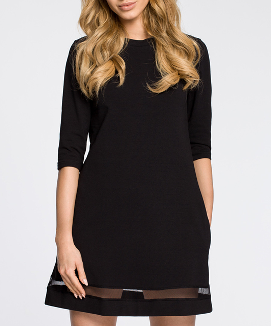 Black cotton blend mesh detail dress Sale - made of emotion