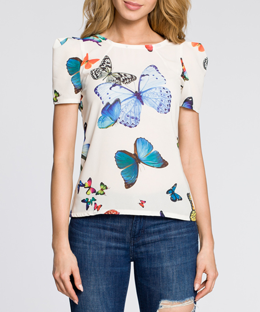 Ecru butterfly print short sleeve top Sale - made of emotion