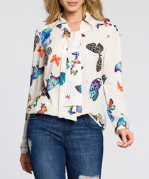 Ecru butterfly print pussybow blouse
