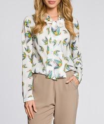Ecru bird print pussybow blouse