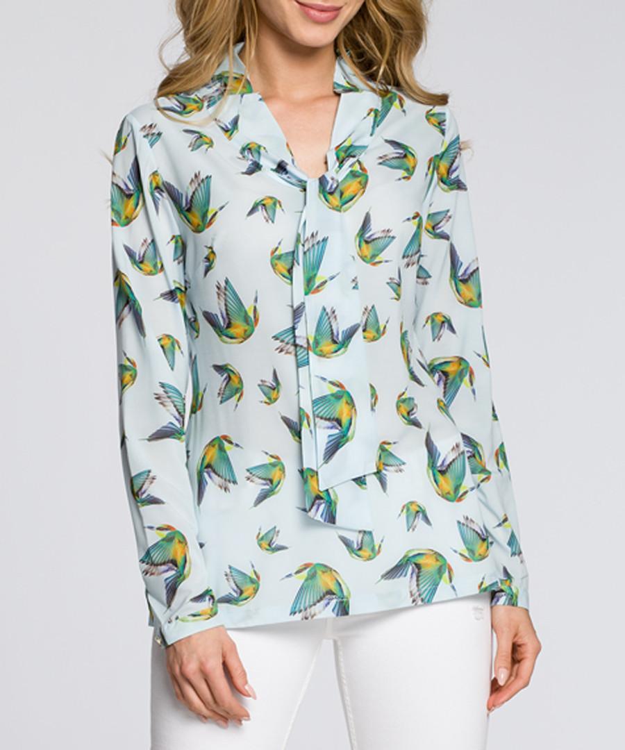 Light blue bird print blouse Sale - made of emotion