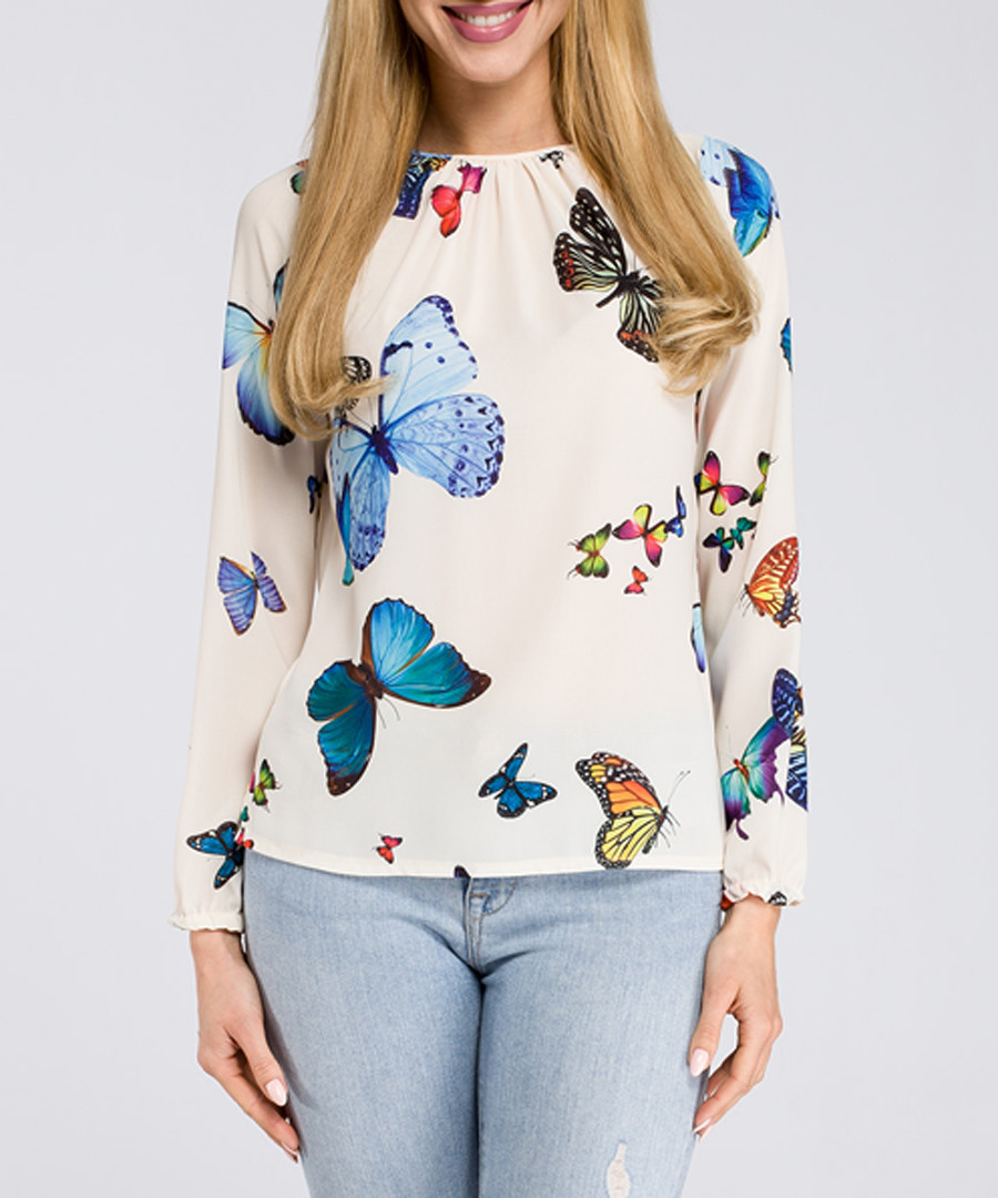 Ecru butterfly print long sleeve blouse Sale - made of emotion
