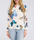 Ecru butterfly print long sleeve blouse Sale - made of emotion Sale