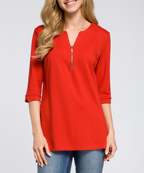 Red cotton blend zip-detail top