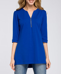 Blue cotton blend zip-detail top